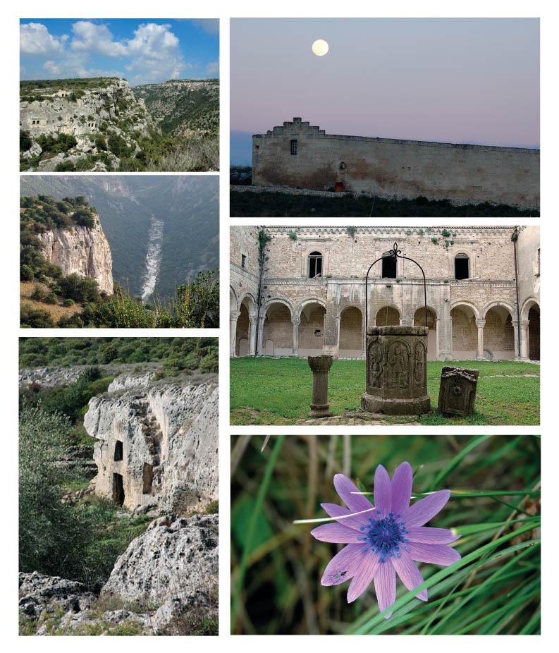 le cinque cartoline che ritraggono 5 pittoreschi angoli del parco della murgia materana